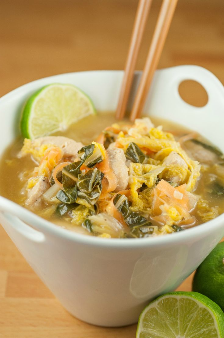 Scratchy throat, runny nose, irritating cough? Have a bowl of this! Asian Chicken Soup with Napa Cabbage and Bok Choy!