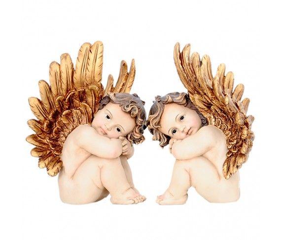 30,80 € - Angelo con ali in oro antico, 2 soggetti assortiti, dimensione cm. 28.