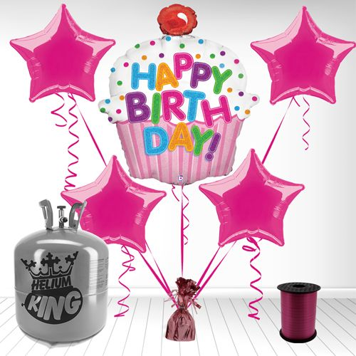 Happy Birthday Cupcake Girl Helium Gas Package Package Includes: - 1 Happy Birthday Cupcake Holographic Supershape Foil Balloon - 4 Hot Pink Star 20 Inch Fo