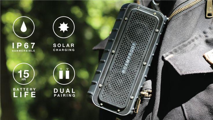 IP67 WaterProof   ShockProof   Solar Charging   Dual-Pairing Bluetooth   2x Full Range Drivers 2x Passive Radiators   Action Mounts