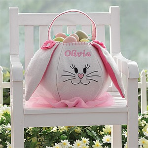 This is the cutest Easter Basket ever! You can personalize it with your daughter's name so she can use it year after year and it's nice that it's soft for kids instead of the sharp wicker baskets