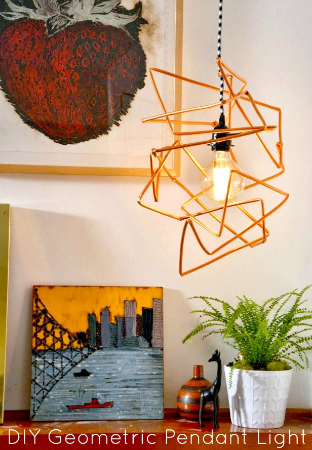 HGTV Crafternoon: DIY Copper Geometric Pendant Light (http://blog.hgtv.com/design/2014/02/18/diy-copper-geometric-pendant-light/?soc=pinterest): Bright Ideas, Copper Pendant Lights, Clever Crafts Lights, Diy'S, Lighting Projects, Lighting Ideas, Light Fixture, Craft Ideas