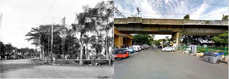 Straat te Batavia met rechts het gebouw van de Staatsspoorwegen, afdeling traktie en materieel, circa 1917, ,., jl Johar arah ke jl Taman Cut Meutia, Jakarta, 2014