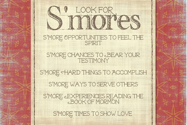S'mores Devotional idea and printable handout for LDS Girls Camp at my3monsters.com