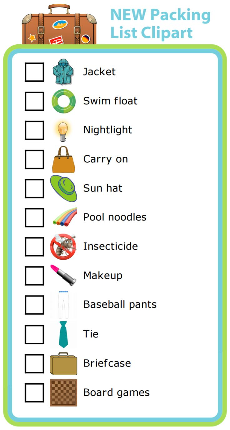 Based on customer feedback, I've added 12 new images to the Packing List activity.  Let your kids help pack their own bags for your next trip. You may be surprised how much they can do on their own!  There are now more than 120 images to choose from to make a packing list. Great for traveling, and also packing a bag for baseball practice, or hockey practice, or a ski day.