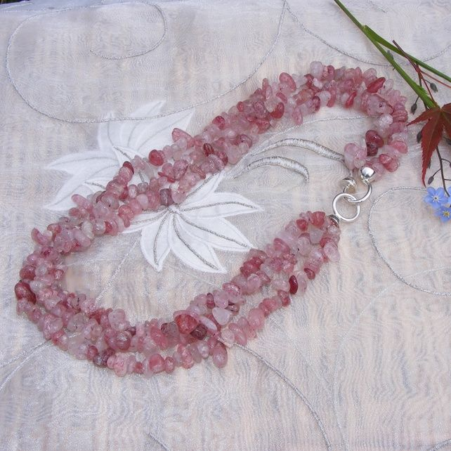 Natural Strawberry Quartz Nugget Necklace with Sterling Silver Feature Clasp £45.00