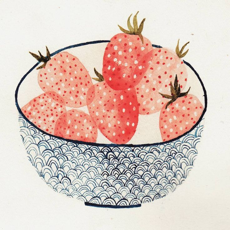 "58 Likes, 2 Comments - cécile | illustrator (@coucou_illustration) on Instagram: ""Summer strawberries, because it is still summer and the sun is up today ☝ Have a beautiful weekend…"""