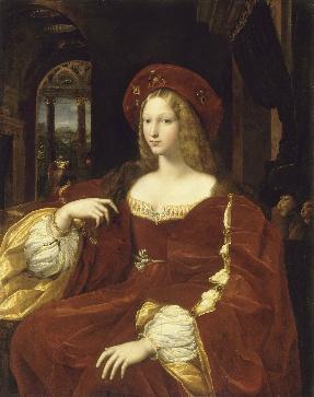 라파엘로 - 잔 다라공   이 작품은 라파엘로가 1518년경에 그린 아라곤 가문 조반나의 초상화다. 라파엘로는 모델을 직접 본 적이 없이 제자의 스케치를 바탕으로 이상적인 아름다움을 지닌 모습으로 그렸다. 그녀가 입고 있는 붉은빛 드레스는 매우 아름답지만 실물을 보지 못했기 때문인지 구체적인 느낌을 표현하는 대신 화려한 의상을 통해 여인의 아름다운 이미지를 표현하려 한 것으로 보인다. 라파엘로가 그린《교황 율리우스》가 남성 통치자의 한 유형을 만들어냈다면 〈아라곤 가의 조반나〉는 그와 같은 통치자 초상화의 유형을 여인에게 대입한 것으로서, 이 작품 역시 대각선으로 앉아있으며 무릎까지 그려졌다. 이 초상화는 이후 영국 여왕들을 비롯하여 유럽 전역에서 여왕이나 귀족 부인들을 그리는 초상화의 전형이 되어 수없이 반복되어 그려졌다는 점에서 중요하다.