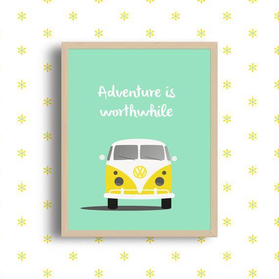 Affiche à imprimer Adventure is worthwhile, combi vw, combi, mini van, déco murale, poster, vans, printable, Volkswagen, mini bus Cette illustration sera idéale pour décorer votre intérieur ou votre atelier. C'est également une très bonne idée de cadeau pour vos proches ! Le téléchargement
