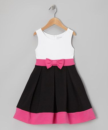 Take a look at this White & Black Bow Dress - Girls by Youngland on #zulily today!