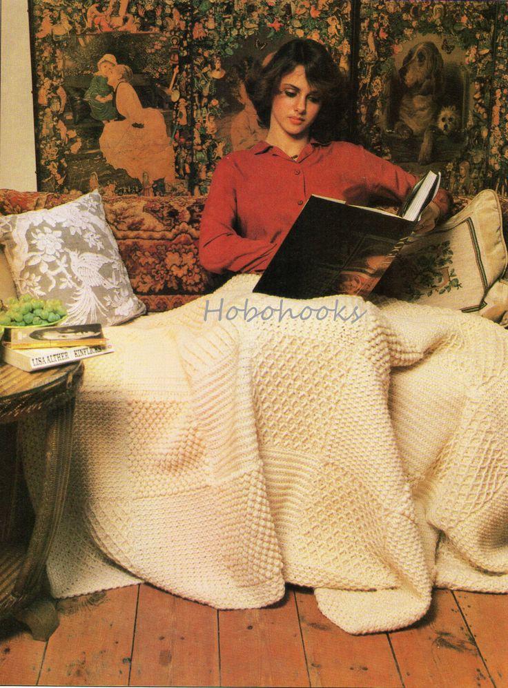 📘 👩🏼 📘 CROCHÊ Estilo Arã Afegão Cobertor Crochê Lance por Ganchos de Hobo -  /  📘👩🏼 📘CROCHET Aran Style Afghan Blanket Crochet Throw by Hobo Hooks -