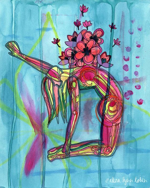 Yoga Art Print - Blossoming Heart - yoga wall art, yoga studio decor, yoga artwork, yoga gift by Eliza Lynn Tobin