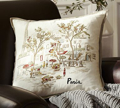 @Gabrielle Davis - And another Paris item : ) Paris Embroidered Pillow Cover #potterybarn