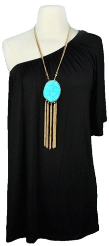 i like this: Turquoise Necklaces, Fashion, Statement Necklaces, Style, Cute Dresses, One Shoulder, Little Black Dresses, Shoulder Dresses, The Dresses
