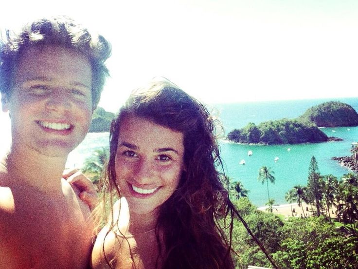 Jonathan Groff & BFF Lea Michele in Mexico this past week.