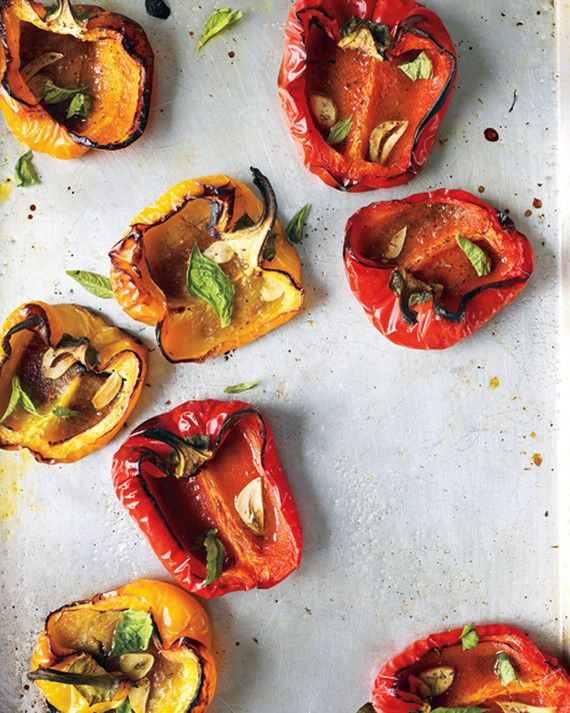 Sprinkle bell pepper halves with slivers of garlic and dried oregano, then pop them in the oven to become charred and sweet. Serve as an easy side dish with London broil, lamb burgers, or grilled chicken.