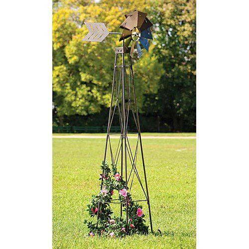 Windmill Wind Spinner 72 Weather Resistant Obelisk Made 6' Yard Garden Outdoor