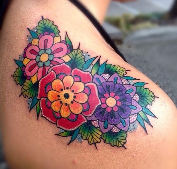Bright Flowers Tattoo