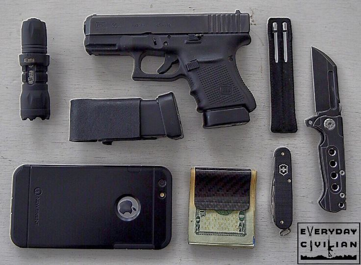 """everydaycivilian: """"Getting used to this blacked out EDC gear. Glock 30 Gen 4 Kytex Shooting Gear Mag Carrier with spare 10 round mag RCFibers Carbon Fiber Money Clip ADV Tactical Mini..."""