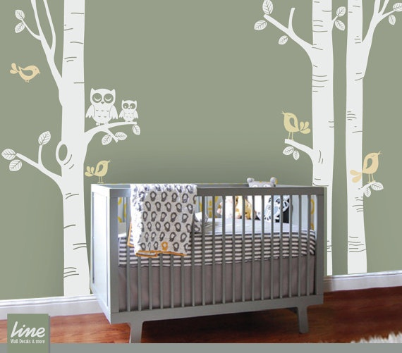 NURSERY BIRCH TREE Decal  Birch Tree Nursery Decal  by LimeDecals, $89.00