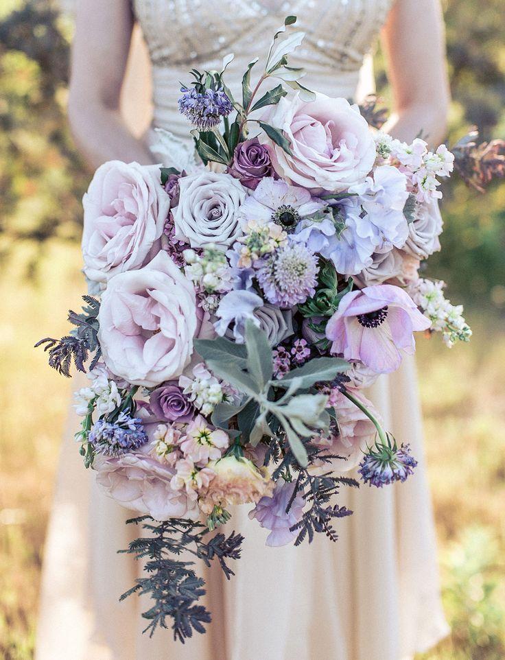 purple gray rose anemone bouquet