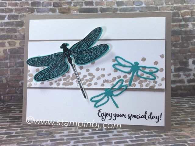 Dragonfly Dreams from the Occasions 2017 catalog is a must have!  Check out the class I have prepared for you complete with multiple techniques!  #stampinbj.com
