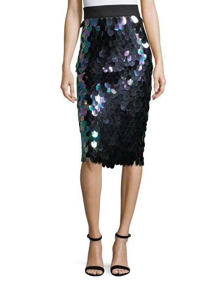 MILLY PAILLETTE-TRIMMED MIDI PENCIL SKIRT, PEACOCK. #milly #cloth #