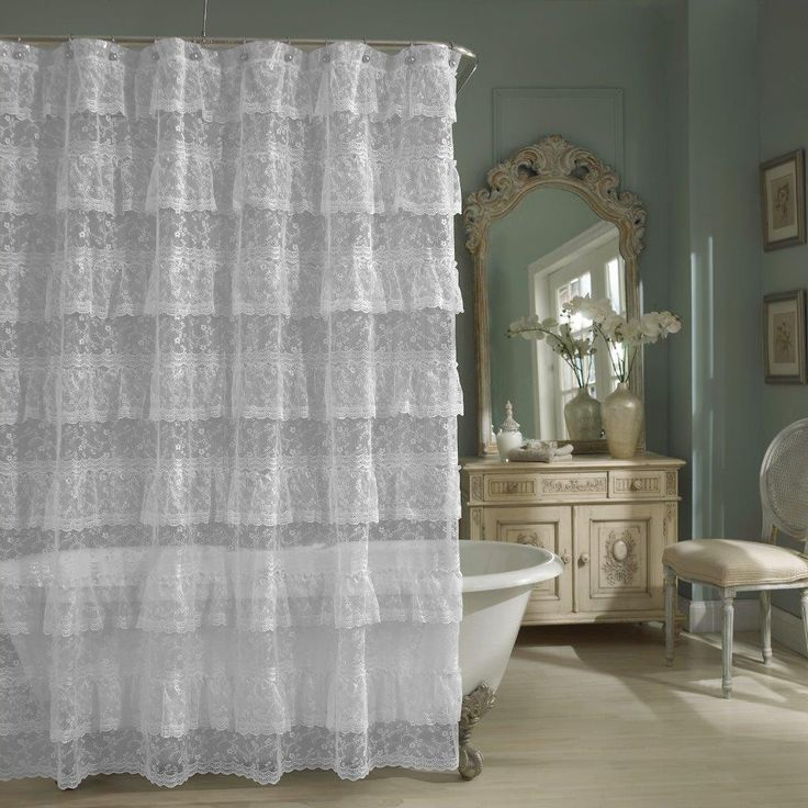 Sheer Lace Priscilla Ruffle Shower Curtain,Old Fashioned, Pink, White,