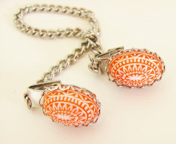 Vintage Tangerine Orange Mosaic Silver Scallop Sweater Guard ClipMosaics Silver, Tangerine, Guard Clips, Scallops Sweaters, Jewelery And, Silver Scallops, Orange Perfect, Orange Mosaics, Sweaters Guard