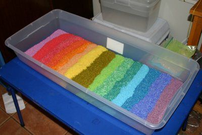 More tips for rainbow rice sensory table