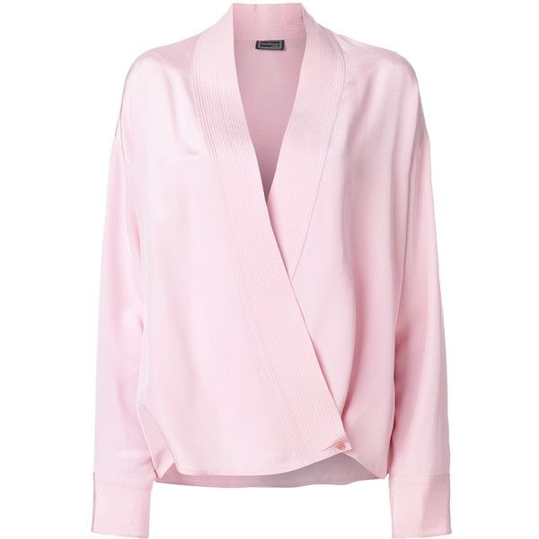 Versace Vintage wrap front shirt (48.750 RUB) ❤ liked on Polyvore featuring tops, wrap front shirt, pink top, versace shirt, versace top and shirt top