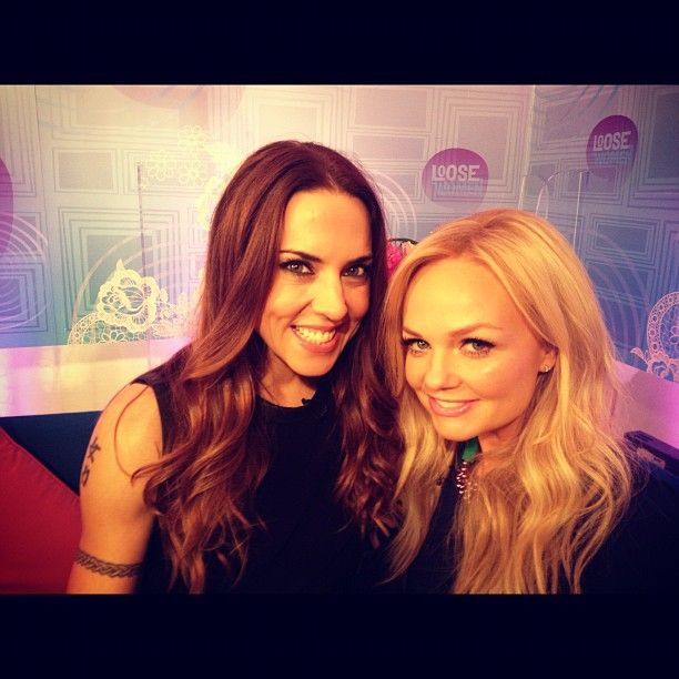 Emma Bunton wears the Art Deco purple and green necklace