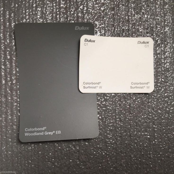 choosing exterior colours - colorbond surfmist and woodland grey
