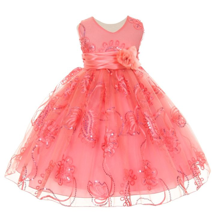 A stylish flower girl Easter dress for your baby girl with intricate detailing. The sleeveless coral tulle dress features floral embroidery, sparkly sequins, a V neckline. It has a corsage accented waistband for extra sophistication. It has a ribbon bow a