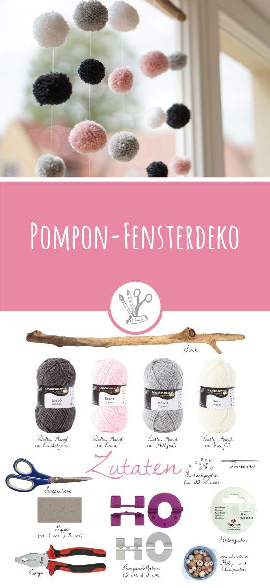 Pompon-Fensterdeko – huebs.ch – DIY – Nähen – Freebooks – Häkeln – Step-by-Step-Anleitungen
