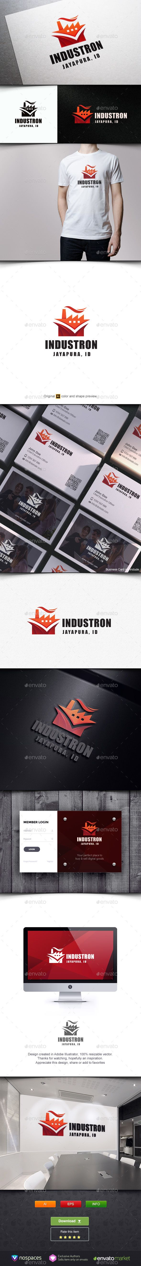 Industron by nospaces Awesome Logo Design Template, you can use this logo for any business. Feature:100 Vector Print Ready, CMYK Editable Colors and T