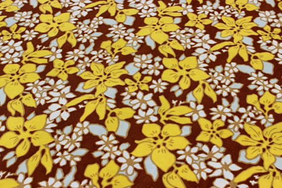 Cute vintage retro 70s Fabric: brown base with colorful floral