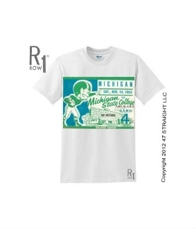 Michigan State football shirt made from an authentic 1953 Michigan State football ticket. Michigan State had a great season in 1953. Click the ROW 1™ shirt to read about the game!