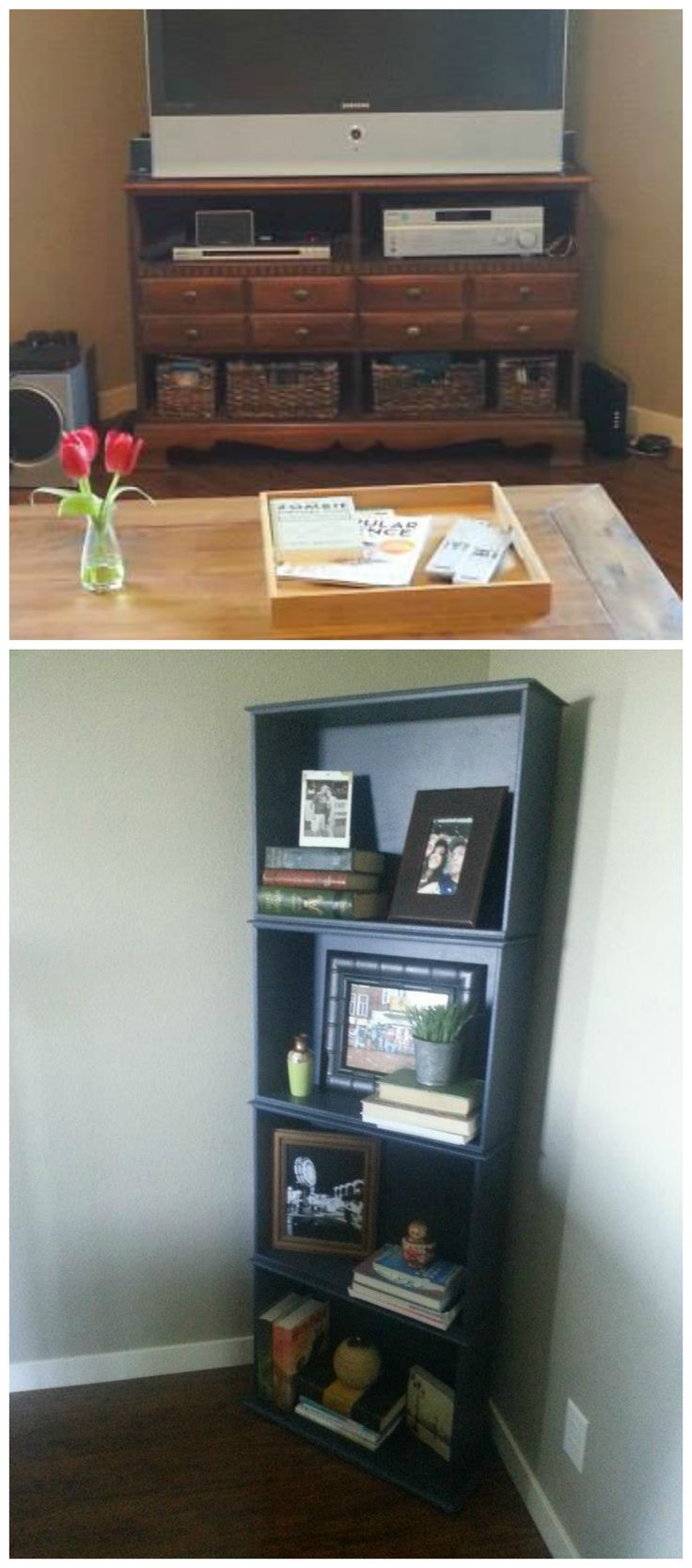 Wife Hack 8: 2 Pieces of Furniture in 1! Take the drawers out of a dresser and nail them together to create a bookshelf, replace the drawers in the old dresser with baskets. Voila! Wife hacks. seehowthelilies blog.