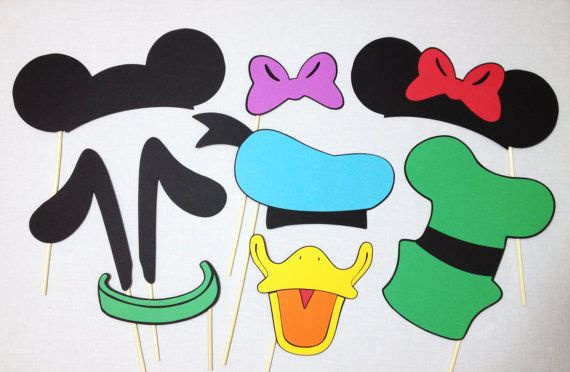 9 Mickey and Friends Photo Booth Props - Disney Photo Booth Props - Mickey Mouse - Minnie Mouse on Etsy, $22.00