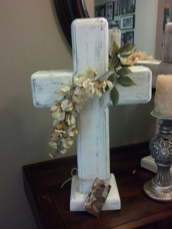 For the wedding or christening white wood standing cross ...