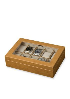 Mele  Co. Brown Logan Glass Top Watch Jewelry Box - Online Only