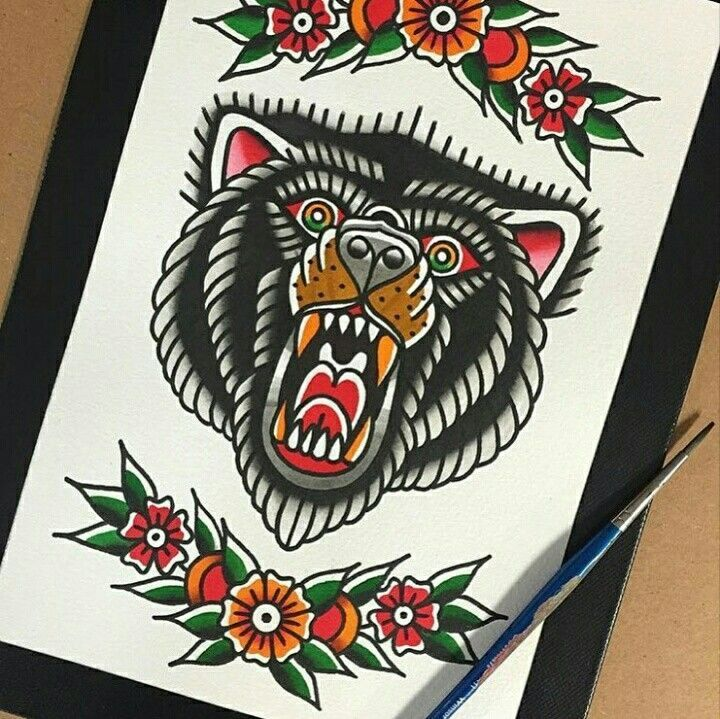 Image result for bear tattoo art