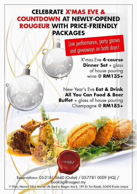 CELEBRATE CHRISTMAS @ NEWLY-OPENED ROUGEUR KL, WITH PRICE-FRIENDLY PACKAGES!     4-Course Dinner + Glass of Wine @ RM135+. Live performances, party games & giveaways!  ROUGEUR by Astelier offers over 12,000 sq. ft. of space that can be transformed into any themed event or setting–be it an intimate dinner for friends, an exclusive product launch or an exciting wedding b...  Read more @ https://www.malaysianfoodie.com/2014/12/celebrate-christmas-newly-opened-rougeur-p