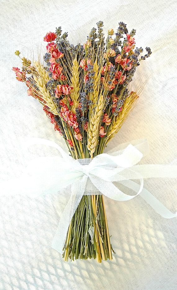 Fall Wedding  Bridesmaid Bouquet of Lavender Coral Peach Larkspur and Wheat on Etsy, $14.25