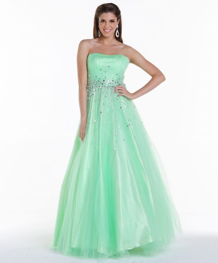 # Jeweled Full Length Prom Ball Gown #mintquinceaneradress #vestidode15
