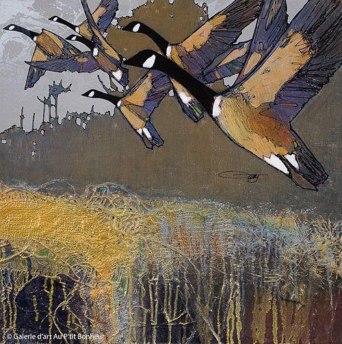 Jean-Pierre Guay, 'Bruits d'ailes', 24'' x 24'' | Galerie d'art - Au P'tit Bonheur - Art Gallery