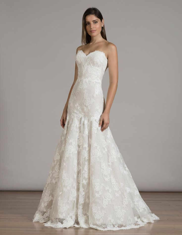 Trendy LIANCARLO lace trumpet wedding dress from Fall https theknot