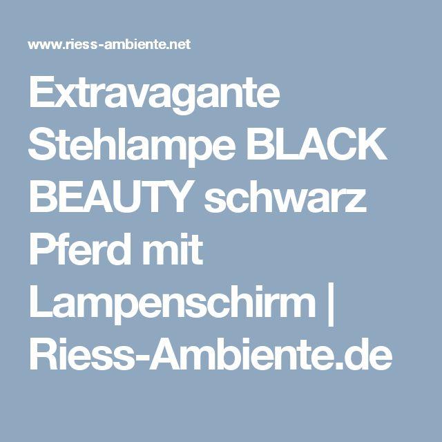 Extravagante Stehlampe BLACK BEAUTY schwarz Pferd mit Lampenschirm | Riess-Ambiente.de