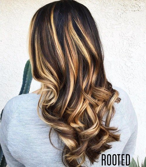 Black+Hair+With+Brown+And+Blonde+Balayage
